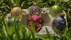 Rack Focus On Decorative Easter Eggs In Grass (Pysanky or Pisanka) Stock Footage