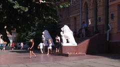 Stock Video Footage of Chernivtsi regional state administration. Lions. People.