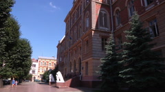 Chernivtsi regional state administration. Trees. - stock footage