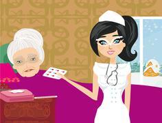 Stock Illustration of nurse takes care of a sick elderly lady