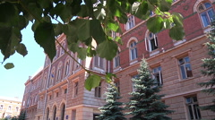 Chernivtsi regional state administration. Trees. Leaves. - stock footage