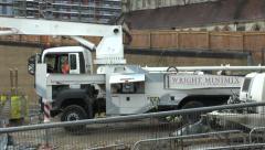 Construction Site Concrete Cement Pump Truck Stock Footage