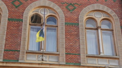 Chernivtsi regional state administration. Flag and windows - stock footage