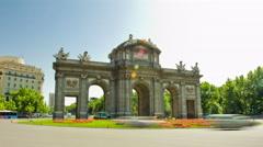 "The Puerta de Alcala (""Alcala Gate""). Madrid, Spain. Timelapse. Stock Footage"