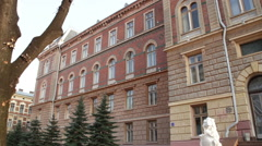 Chernivtsi regional state administration. Front panorama. - stock footage