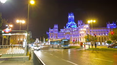 Plaza de la Cibeles (Cybele's Square). Madrid, Spain. Timelapse. Stock Footage