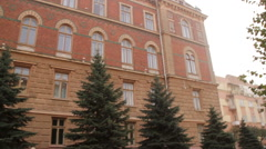 Chernivtsi regional state administration. Trees. Front view. - stock footage