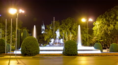 Neptune Fountain (Fuente de Neptuno) at night. Madrid, Spain. Timelapse. - stock footage