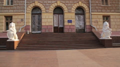Chernivtsi regional state administration. Front up panorama. Stock Footage