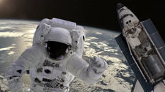 Astronaut and shuttle above the Earth. Elements of this video furnished by NASA. - stock footage