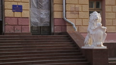 Chernivtsi regional state administration. Lion. Stairs. - stock footage