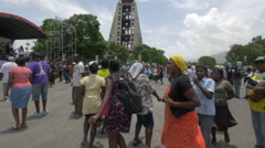 Haitian people dancing at the Bicentennial Monument in Haiti - stock footage