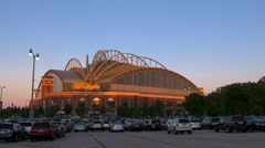 Miller Park Milwaukee Wisconsin at Sunset - Motion Timelapse Stock Footage