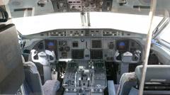 Empty airplane cockpit Stock Footage