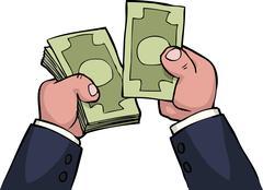 Hand count money - stock illustration