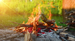 Bonfire , picnic in  forest Stock Footage