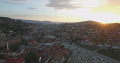Sarajevo aerial shot, Bosnia and Herzegovina at sunset - stock footage