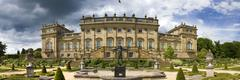 Panoramic view Harewood House stately home - stock photo