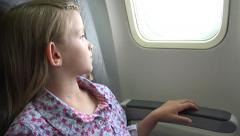4K Young Girl in Plane, Pensive Thinking, Sad Upset Afraid Kid Child in Airplane Stock Footage