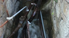 Old city Storm collector. Plumbing. Stone Ditch. - stock footage