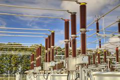 Stock Photo of High voltage switchyard in electrical substation