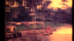 Busch Gardens 1955 water skiing historic archival footage Stock Footage