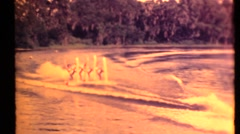 Professional water skiing historic archival footage Stock Footage