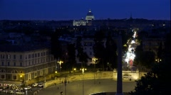 4K Aerial Vatican Piazza Popolo Rome Italy St Peter's Basilica Night View Stock Footage
