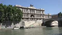 4K Justice Palace Supreme Court Cassation Rome Italy Umberto Bridge View Tourism Stock Footage