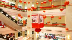 Medium size mall atrium decorated for Chinese New Year celebration Stock Footage