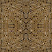 Tribal Geometric Symbols Seamless Pattern - stock illustration
