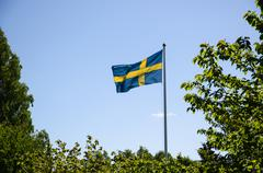 Backlit swedish flag Stock Photos