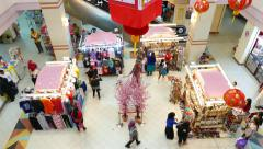 Cute decorated mall atrium stalls shopping area, chinese new year celebration Stock Footage