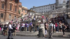 4K Piazza di Spagna Rome Italy Crowd People Tourists Walking Square Urban Scene Stock Footage