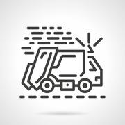 Garbage truck black line vector icon Piirros