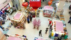 Top view decorated stalls in mall atrium, selling bijouterie and cloth Stock Footage
