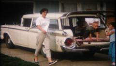 2167 - classic family station wagon ready for the road - vintage film home movie Stock Footage