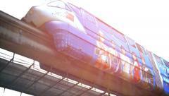 KUALA LUMPUR, MALAYSIA - CIRCA FEB 2015: Monorail Commuter Train passing slow Stock Footage