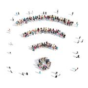 People in the shape of wi fi Stock Illustration