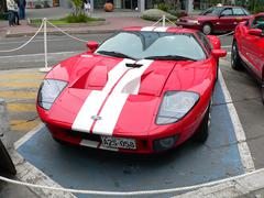 View of a red and white Ford GT - stock photo