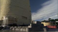 American Indian Museum - Smithsonian-waterfall pan zoom Stock Footage