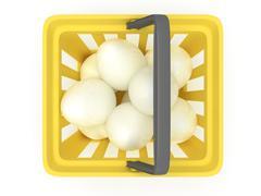 White eggs in shopping basket. 3D. - stock illustration