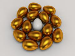 Unique white egg among gold eggs Stock Illustration