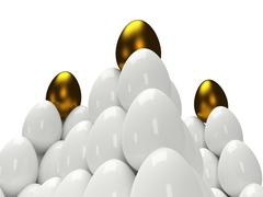 Pyramids of shiny golden and white eggs - stock illustration