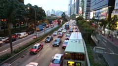 Continuous stream of cars on the Connaught Road Central, Hong Kong Stock Footage