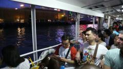 Passengers traveling on a ferry, Hong Kong Stock Footage