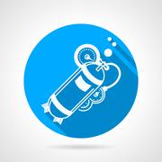 Aqualung blue round vector icon - stock illustration