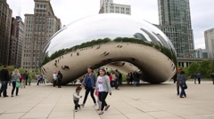 Cloud Gate, also known as the Bean, in Millennium Park, Illinois, Chicago. Stock Footage