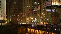 The city of Chicago at night, Illinois, USA Stock Footage