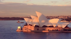 Opera House Sydney Harbour Australia Sunset City Landscape Stock Footage